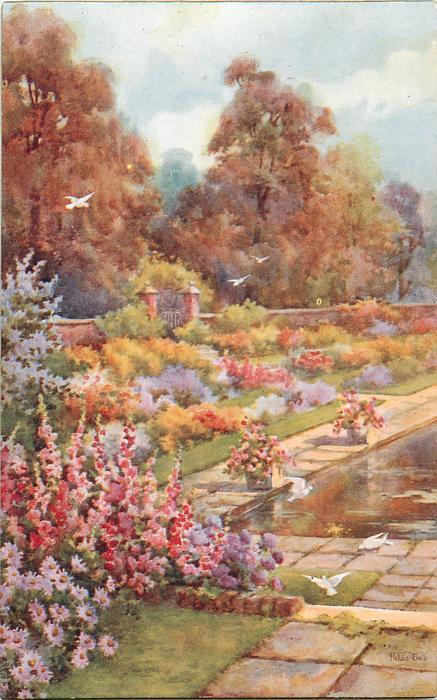THE DUTCH GARDEN, KENSINGTON PALACE  paving stone  paths, pool, brick wall behind flowers