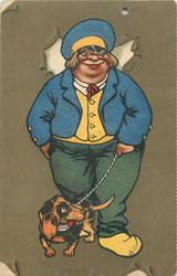 fat Dutch youth with dachshund