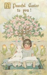 A PEACEFUL EASTER TO YOU!  child & rabbit sIt reading under blossom tree