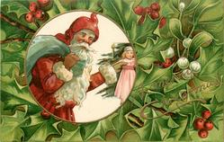 A MERRY CHRISTMAS  inset Santa with bag, holds doll in left hand, holly around