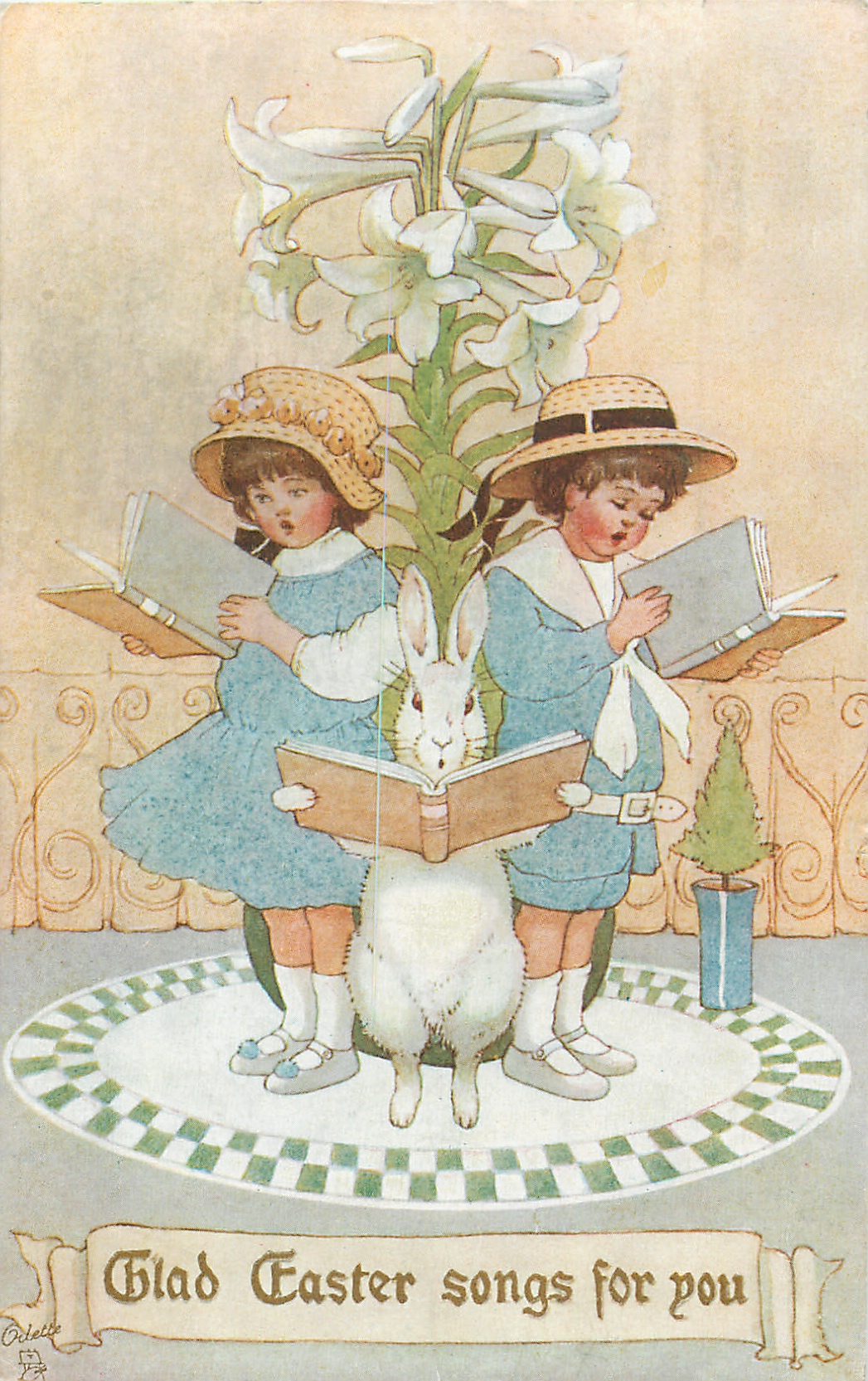 glad easter songs for you two children  u0026 rabbit stand