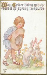 MAY EASTER BRING YOU THE BEST OF ITS SPRING TREASURES  girl holds large hat, two rabbits, all look at four eggs