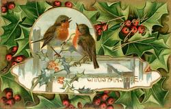 CHRISTMASTIDE  inset of two robins on fence,  holly around