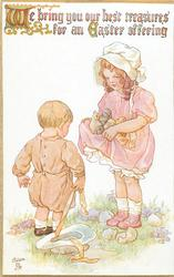 WE BRING YOU OUR BEST TREASURES FOR AN EASTER OFFERING  girl shows skirtfull of chicks to small boy