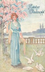 EASTER GLADNESS  woman in blue, pink shawl, looks down at four doves, pink blossom behind