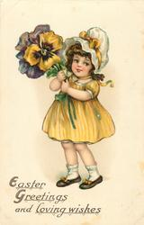 EASTER GREETINGS AND LOVING WISHES  girl with exaggerated pansies