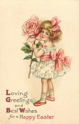 LOVING GREETINGS AND BEST WISHES FOR A HAPPY EASTER  girl with exaggerated rose