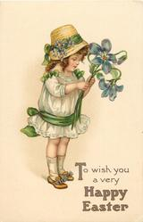 TO WISH YOU A VERY HAPPY EASTER  girl with exaggerated violets