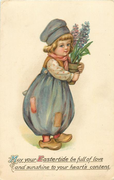 MAY YOUR EASTERTIDE BE FULL OF LOVE AND SUNSHINE TO YOUR HEART'S CONTENT  boy with pot of hyacinths