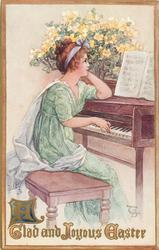 A GLAD AND JOYOUS EASTER  girl sits playing piano