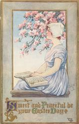 SWEET AND PEACEFUL BE YOUR EASTER DAY  girl sits by blossom tree, music book in her lap