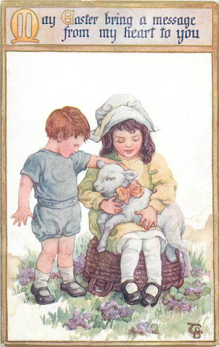 MAY EASTER BRING A MESSAGE FROM MY HEART TO YOU  girl sits on upturned basket cuddling lamb