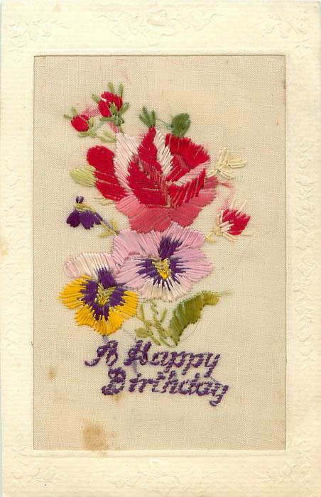 A HAPPY BIRTHDAY red rose & red flower buds above pansies