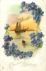 CHRISTMAS GREETINGS  sailing boats & buoy framed by violets
