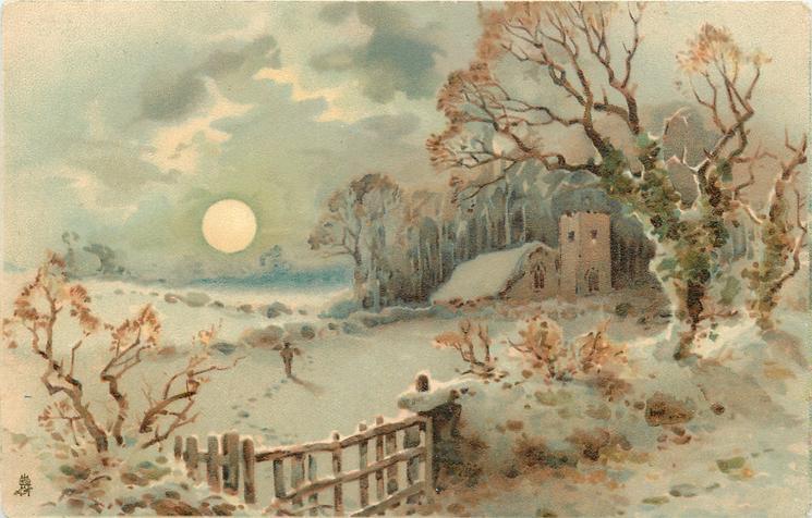 snow scene, moon near horizon, man crossing field, church & woods behind