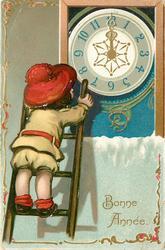 BONNE ANNEE  child on ladder looks at clock in window