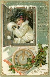 BONNE ANNEE  woman wearing a muff holds snowball in window above clock