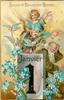 BONNE ET HEUREUSE ANNEE  angel in chariot above father time behind calendar, forget-me-nots