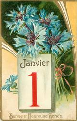 BONNE ET HEUREUSE ANNEE blue cornflowers (batchelor's buttons) above calendar below
