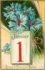 BONNE ET HEUREUSE ANNEE blue cornflowers (batchelor's buttons) above calendar below