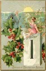 BONNE ET HEUREUSE ANNEE  girl sits on calendar with hourglass, waving to old year leaving left, sun above