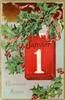 HEUREUSE ANNEE calendar center right, holly above and below, no birds