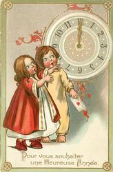 POUR VOUS SOUHAITER UNE HEUREUSE ANNEE  two children  look up at clock