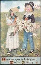 HERE WE COME TO BRING YOU EASTER GREETING  girl carries rabbit, boy carries flowers