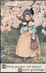 I BRING YOU LOVE AND JOYOUS EASTER GREETINGS  girl has rabbit in bag, blossom above