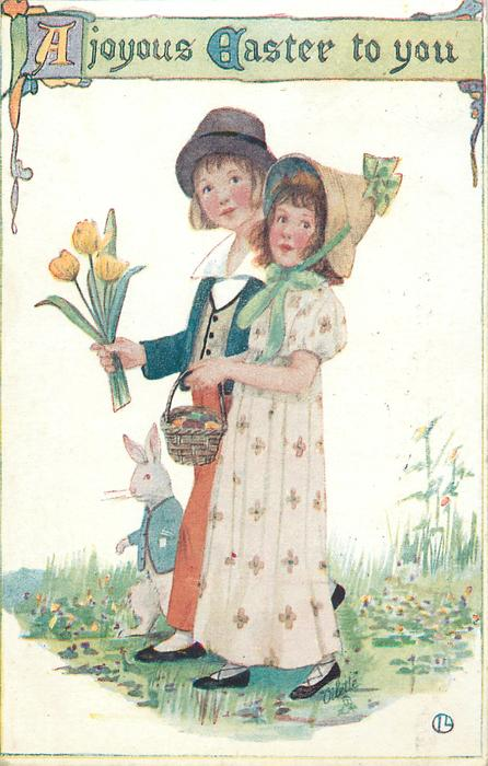 A JOYOUS EASTER TO YOU  boy, girl & rabbit walk left