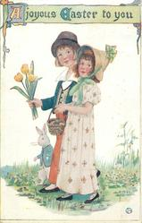 A JOYOUS EASTER TO YOU  boy, girl & rabbit walk left