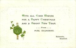 WITH ALL GOOD WISHES FOR A HAPPY CHRISTMAS, green seal & ivy lower left