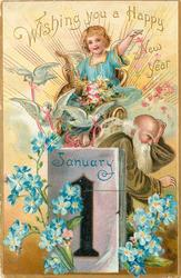 WISHING YOU A HAPPY NEW YEAR  angel in chariot above father time behind calendar, forget-me-nots