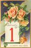 A HAPPY NEW YEAR  orange roses above calendar below