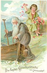 DIE BESTEN GLUCKWUNSCHE ZUM JAHRESWECHSEL  old man with beard about to enter boat, angel behind throws flowers