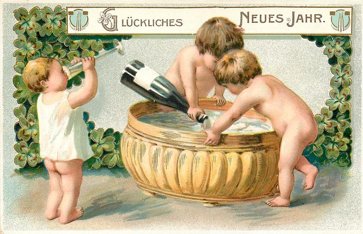 GLUCKLICHES NEUES JAHR, two children pour champaign into gold vat, another child left drinks from glass