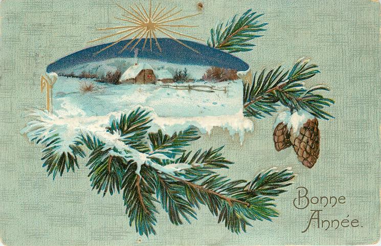 BONNE ANNEE  inset of snowy rural scene above fir branch with cones