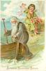 BONNE ET HEUREUSE ANNEE  old man with beard about to enter boat, angel behind throws flowers