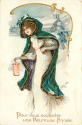 POUR VOUS SOUHAITER UNE HEUREUSE ANNEE  girl in white dress & blue coat carries lantern & gift in snow