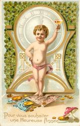 POUR VOUS SOUHAITER UNE HEUREUSE ANNEE  almost  nude boy stands in front of clock with drink in his left hand