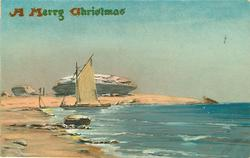 A MERRY CHRISTMAS  ocean scene, sailboat near beach, a large rock behind it, two people in far distance to left