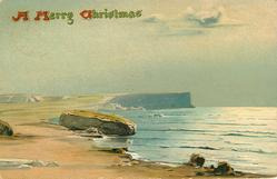 A MERRY CHRISTMAS  ocean scene, large flat rock left at edge of sandy beach, distant cliffs, ocean right, no people