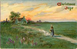 CHRISTMAS JOYS  pastoral scene, woman on path feeds 4 white geese, house behind left