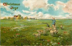 CHRISTMAS JOYS  pastoral scene, shepherd & dog drives sheep front, house distant left