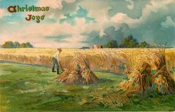 CHRISTMAS JOYS  harvest scene, sheaves of wheat stooked right and center, man holds scythe, uncut grain behind