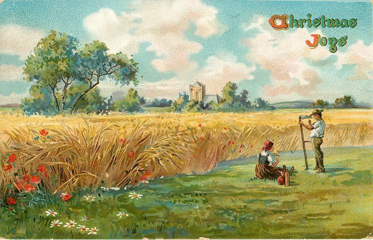 CHRISTMAS JOYS  harvest scene, man sharpens scythe, woman sits on ground, standing grain to left, church behind