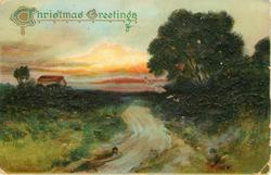 CHRISTMAS GREETINGS rural scene, much deep green, road centre, dense trees right, small building behind left