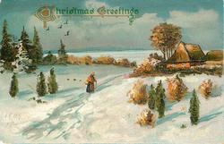 CHRISTMAS GREETINGS  snow scene, woman with cane approaches house on right, five birds in flight to upper left