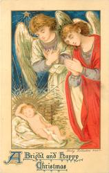 A BRIGHT AND HAPPY CHRISTMAS  two angels admire baby Jesus from the right