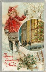BONS SOUHAIT DE NOEL  girl in red waves, holly on sled below, insert of tree in window